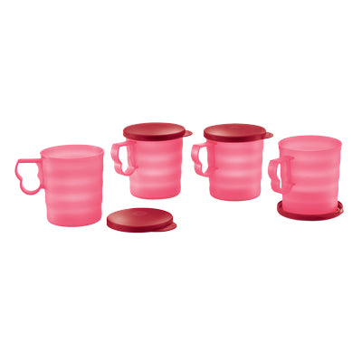 11138215 Tupperware Royal Red Mug with Seal (4) 350ml