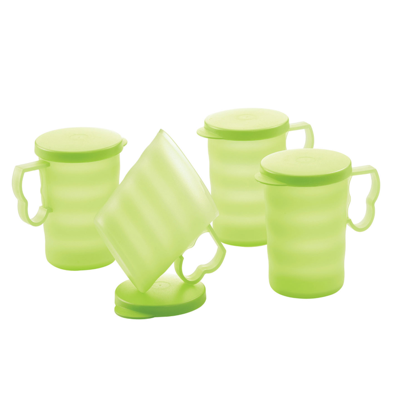 Tupperware Blossom Mugs & Seals (4) 350ml