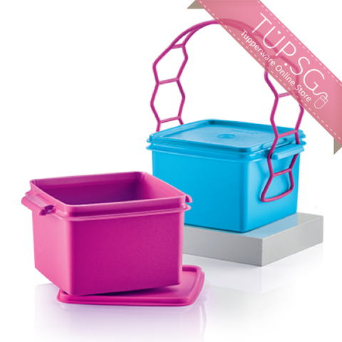 Tupperware Singapore Double Deep with Cariolier (1) 1.7L each (Blue and Pink)