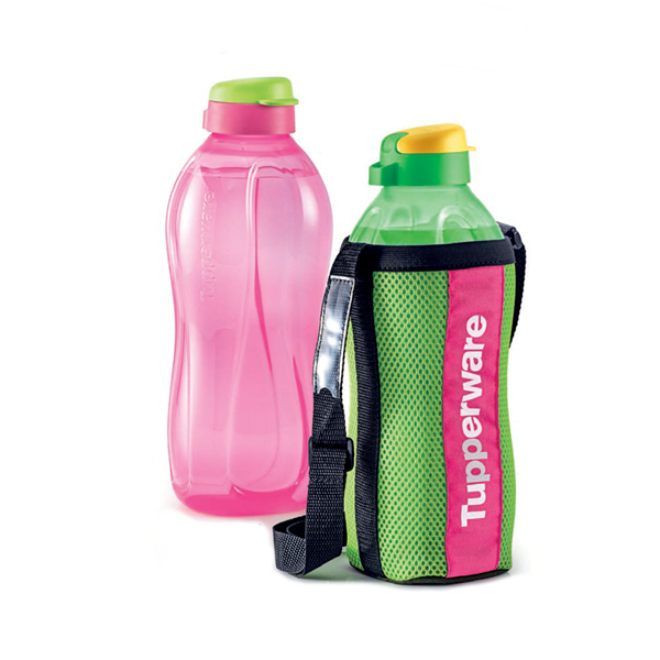 Giant Eco Bottle (2L x2) - Green & Pink w/ 1 Pouch