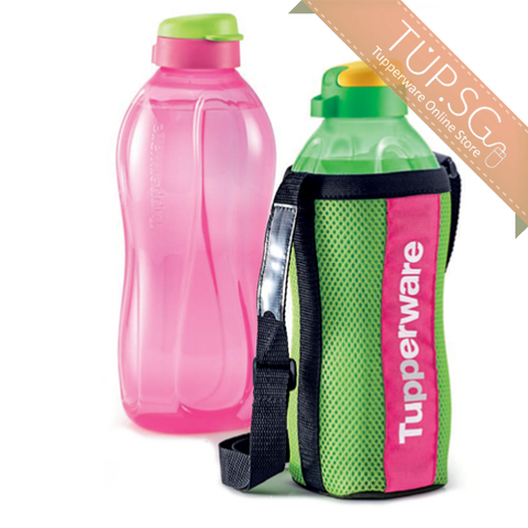 Tupperware Singapore | Giant Eco Bottle (2) - 2L - Green & Pink w/ 1 Pouch