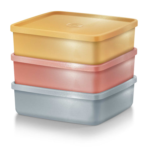 Tupperware Singapore | [Premium] Glitteria Large Square Away (3) 620ml | Gold | Silver | Bronze