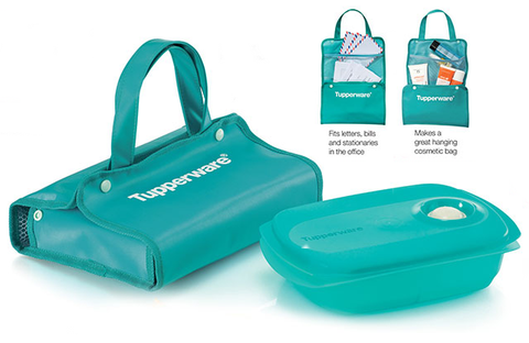 Tupperware Green Reheatable Divided Lunch Box 1L with Pouch