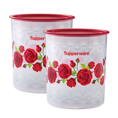 Tupperware Royal Red Rose One Touch Canister Large (2) - 4.3L