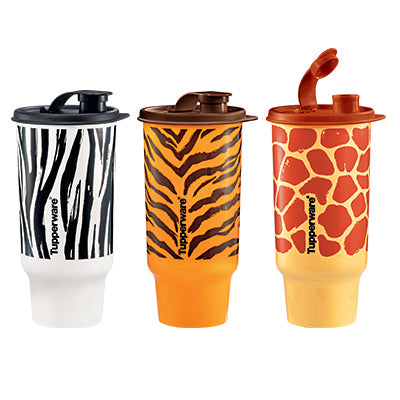 Tupperware Safari Tumbler Set (950ml) - Zebra / Giraffe / Tiger
