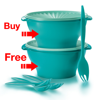 Buy 1 Free 1: Tupperware Joy Keeper Salad Bowl 3.8L