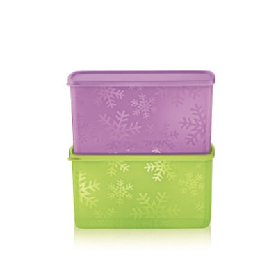 Tupperware Snowflake Double Square Round (2) 2.8L