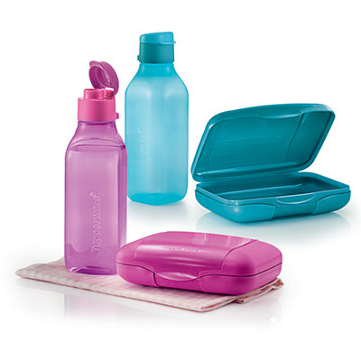 Square Eco Bottle Lunch Set - Pink + Blue