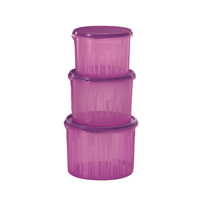 Tupperware Textured Canister Set - Rhubarb