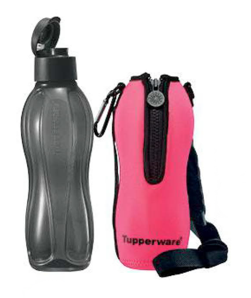 Eco Bottle 1l Flip Top Black With Neon Pink Pouch