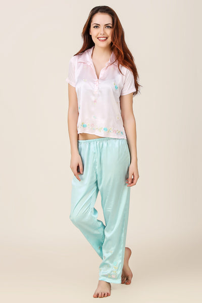 Candy, Embroidered Satin Pyjama Suit w/ Sleeves