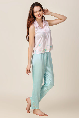 Candy, Embroidered Satin Pyjama Suit