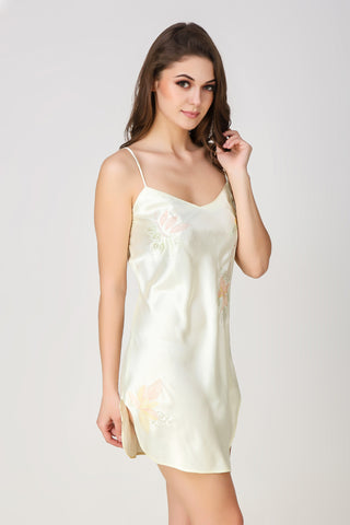 Lola (Lemon), Embroidered Satin Night Dress - After Dark by Craftline