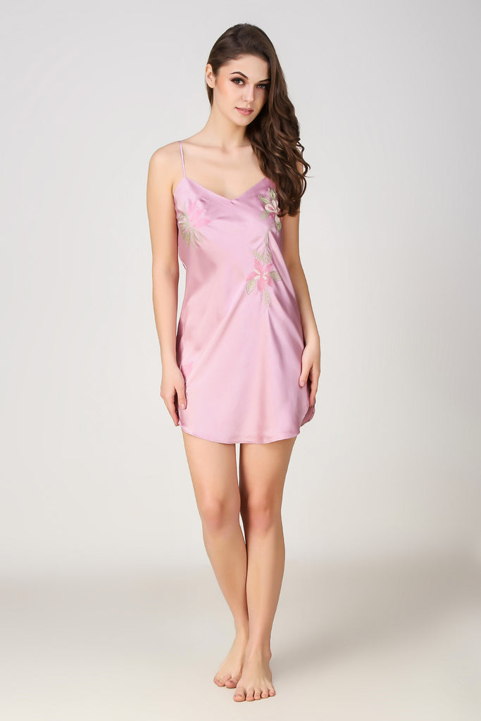 Lola (Rose), Embroidered Satin Night Dress - After Dark by Craftline