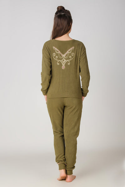 Paula, Embroidered Fleece Night Suit - After Dark by Craftline