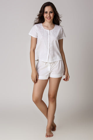 Madeline, Embroidered Top & Shorts - After Dark by Craftline