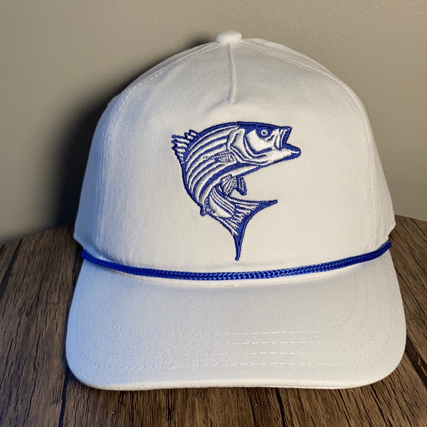 Striper Hat White with Blue Rope