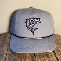 Striper Hat Blue-Gray with Black Rope