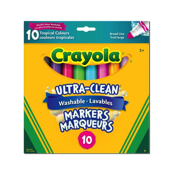Crayola - 10 marqueurs lavables large tropicales