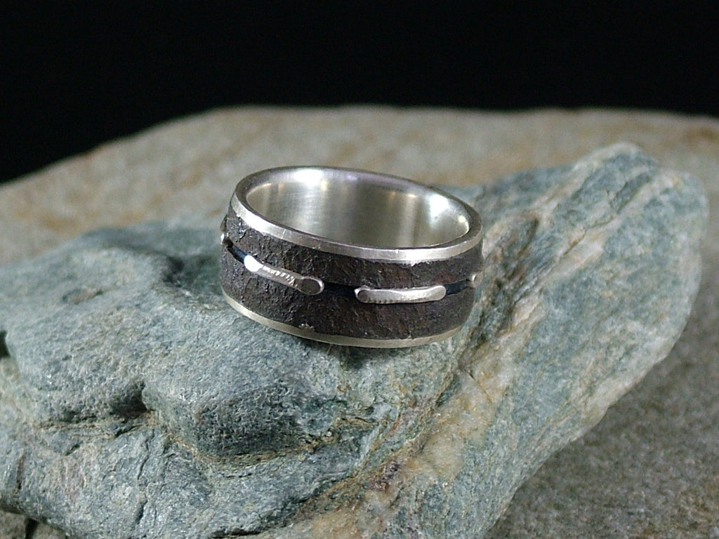 Oxidised Mild Steel and Silver Ring with Silver Lines No.2