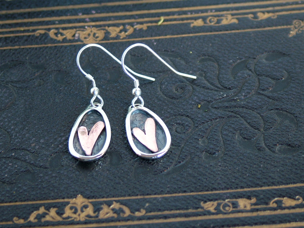 Silver with Copper Heart Oval Earrings