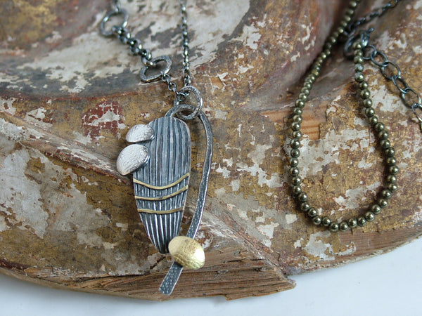 Pyrite Bead and Silver Necklace