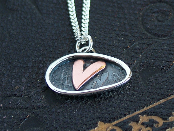 Silver with Copper Heart Landscape Oval Necklace