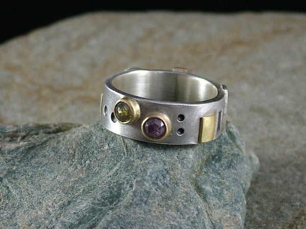 Silver Ring with 18 ct Gold and Two Rose Cut Natural Colour Diamonds No.1