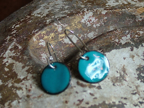 Teal Enamel Circle Earrings