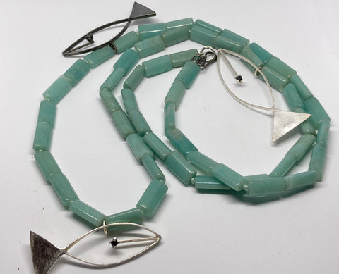 Amazonite Bead and Silver Fish Necklace