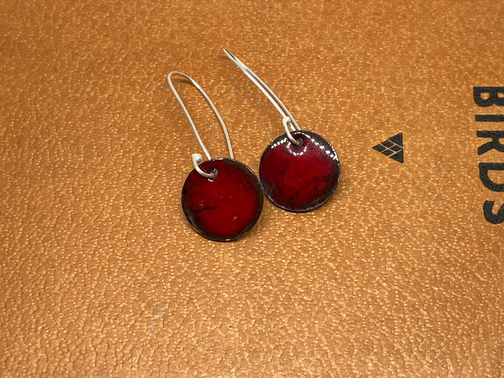Red Enamel Circle Earrings