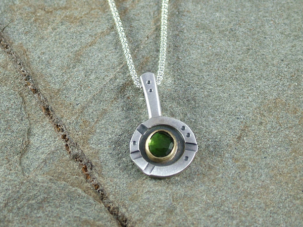 Oxidised Silver and Green Tourmaline Pendant
