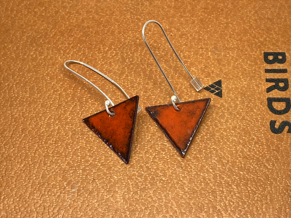 Orange Enamel Triangle Earrings