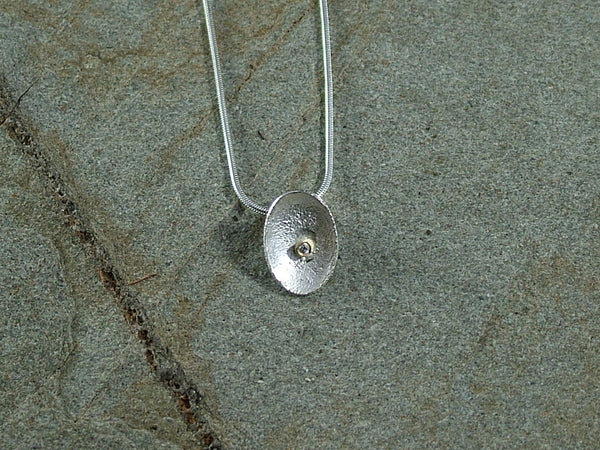 Small  Honesty Petal Pendant with Diamond