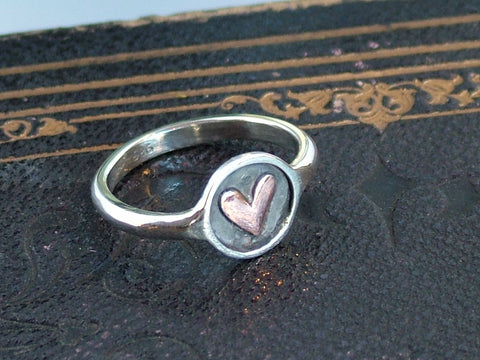 Round Silver Ring with Copper Heart