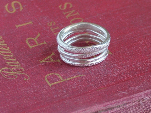 Textured Silver Coil Ring