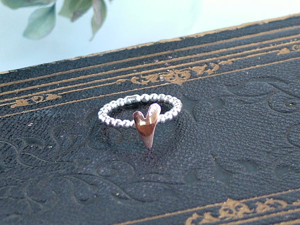 Silver Ball Ring with Copper Heart