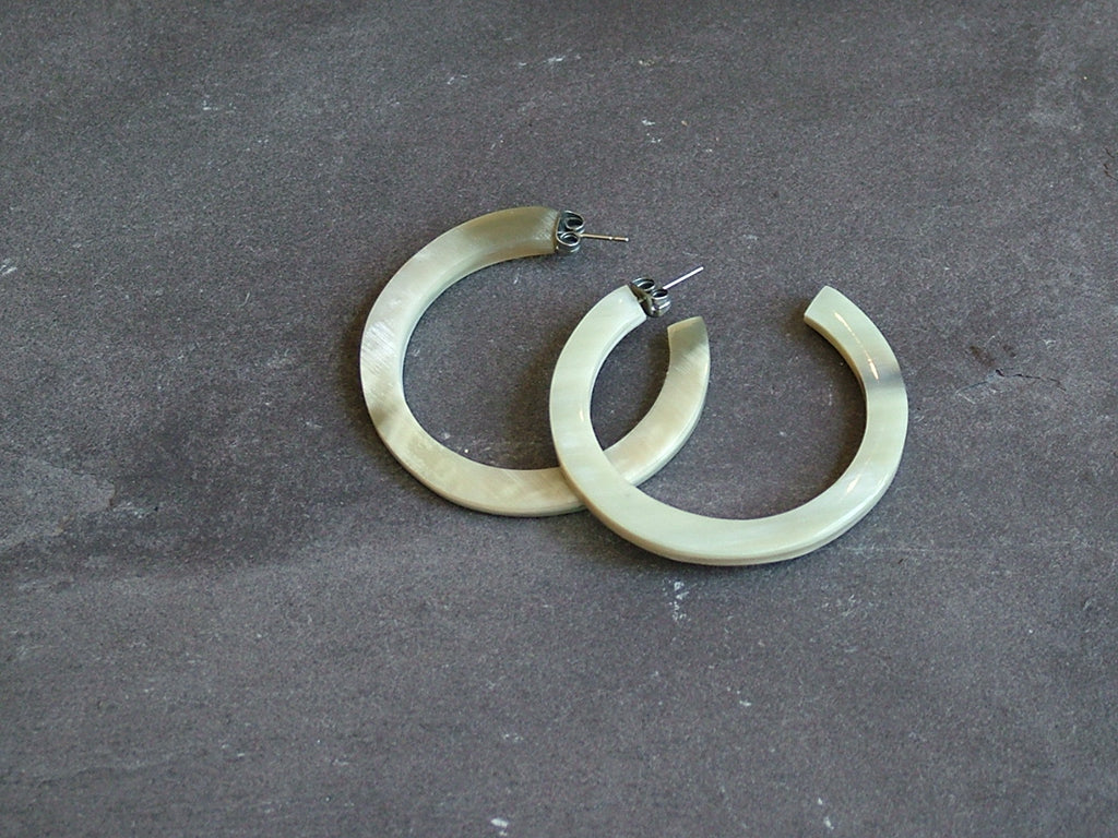 White Natural Buffalo Horn Hoop Earrings