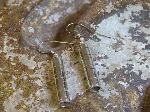 Vintage and Preloved Tubular Earrings with Line Pattern