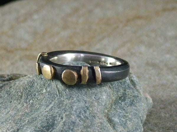 Oxidised, Forged Silver Ring with 18ct Gold No.2