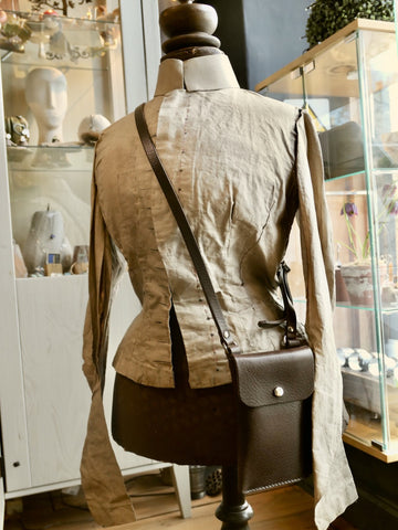 Brown Leather Crossbody Phone Pouch