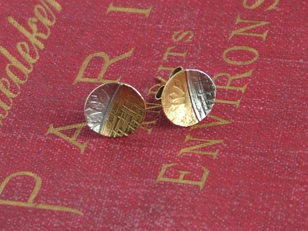 Silver and Gold Plated Silver Fused Circle Studs