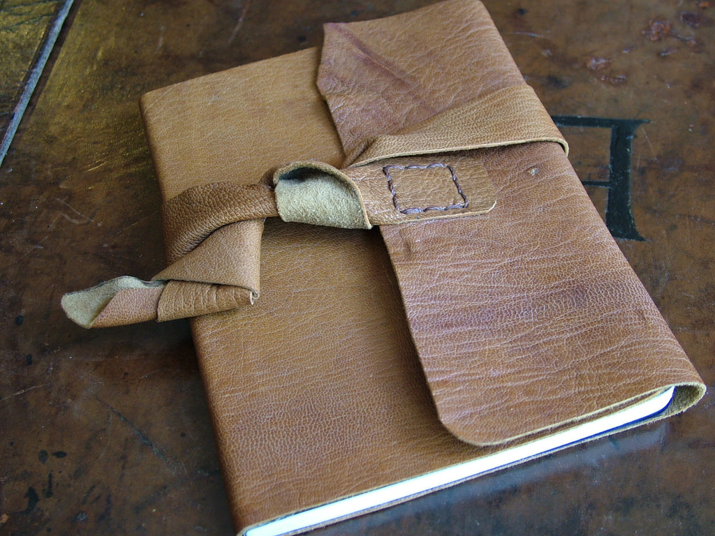 Small Wraparound  Leather Bound Notebook