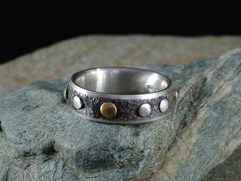 Oxidised Steel and Silver Ring with Silver Dots and One 22ct Gold Dot