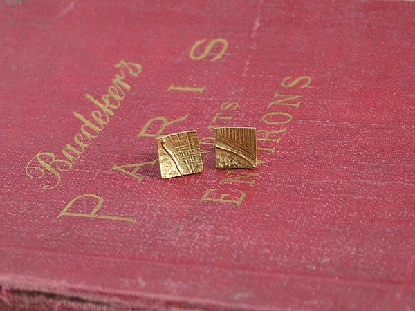 Gold Plated Silver Square Studs