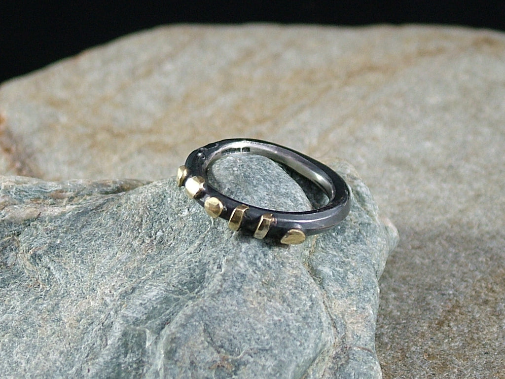 Oxidised, Forged Silver Ring with 18ct Gold No.1