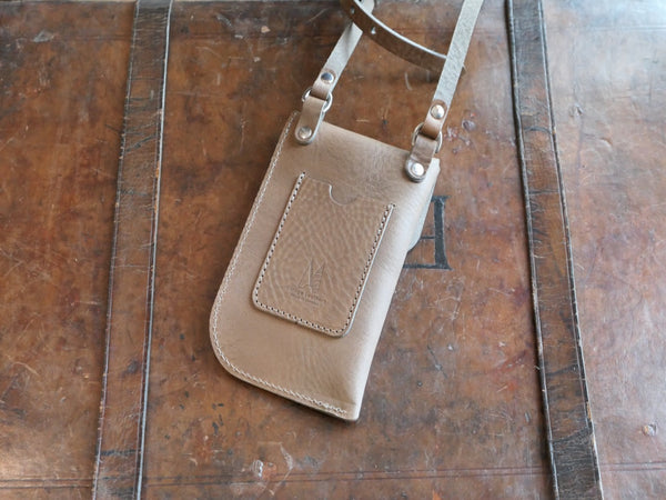 Elephant Grey Leather Crossbody Phone Pouch
