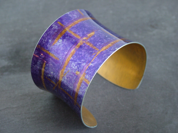Broad Purple Check Design Anodised Aluminium Bangle