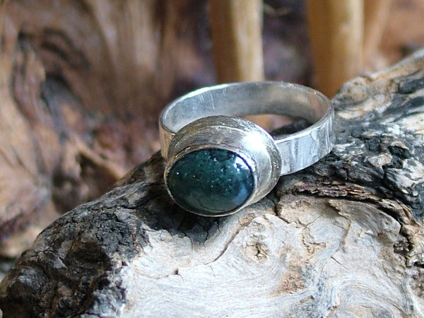 Moss Agate Ring with Lipped Setting