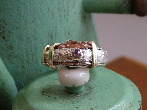 Mixed Metal Ring with Amethyst